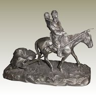 "Philip Kraczkowski  Vintage Pewter Statue  ""Where Buffalos Go"""