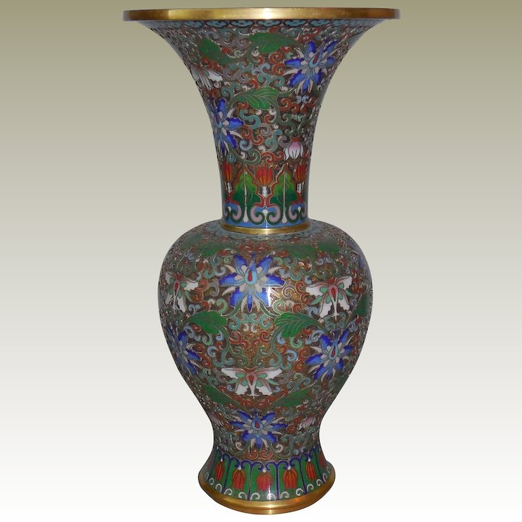 Vintage Cloisonn Champleve Vase 105 Inches Tall Not Just Musi
