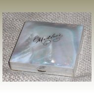 """Vintage Mid-Century Mother of Pearl Compact signed 'Mother"""""""