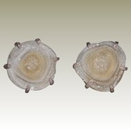 Vintage Pale Grey Druzy Cuff Links in Mounted in Sterling Silver Signed GMM