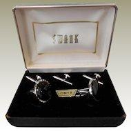 Vintage Swank Onyx Tuxedo Set in Original Box