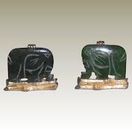 Cufflinks Vintage Swank Hand-Carved Spinach Jade Elephant