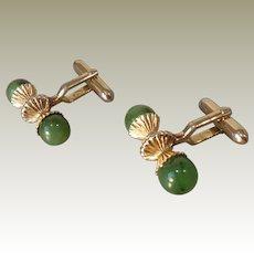 Vintage Green Jade Gold Plated Cufflinks