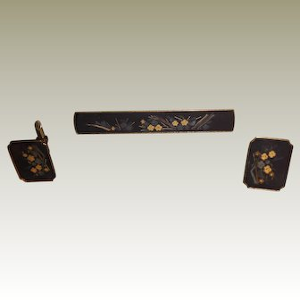Vintage Japanese Amita Damascene Cufflinks and Tie Bar