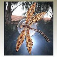 Bright Brown Tweed Beaded Dragonfly Door Decoration