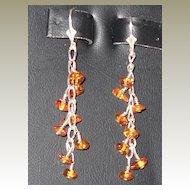 Handmade Amber and Sterling Pierced Earrings