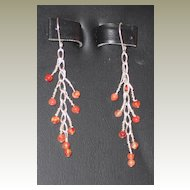 Artisan Carnelian and Sterling Pierced Earrings