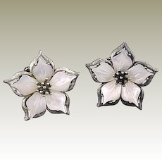 Rare Vintage Mother of Pearl Flower Clip Earrings by MUSI Antique Silver Plating
