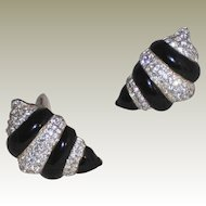 Vintage Carre` Shell Shaped Black Epoxy and Rhinestone Clip Earrings