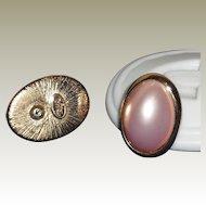 Vintage Trifari Faux Pink Pearl / Gold Plated Pierced Earrings