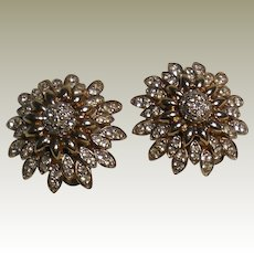 Panetta Vintage Austrian Crystal Rhinestone Gold Plated Clip Earrings