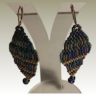 Handmade Iris and Gold Seed and Bugle Beaded Earring.