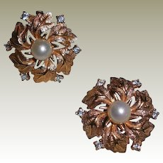 Vintage Jomaz Gold Plated Flower Clip Earrings