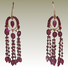 Deco 18K Yellow Gold Ruby Chandelier Vintage Dangle