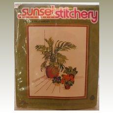 Vintage needlework – Sunset Stitchery - Indoor Palm Garden