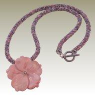 "Pink Tweed Seed Bead Necklace - 25"""
