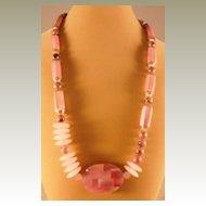 """Multi Pink Semi - Precious Necklace - 27"""""""