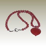 """Cherry Quartz Necklace with Heart Pendant - 25.5"""""""