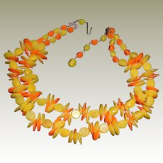 Vintage Yellow and Orange West German Beaded Necklace