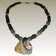 Artisan Green Jasper and Serpentine Necklace with Abalone Knot Pendant
