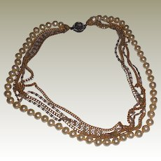 Vintage Miriam Haskell Five Strand Faux Pearl and Chain Necklace