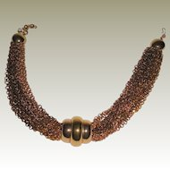 Vintage Monet Twenty Strand Bronze and Gold Plated Chain Necklace with Center