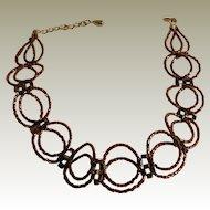 "Bronze Tubular Seed Beaded Choker – 14.5"" + 3"""