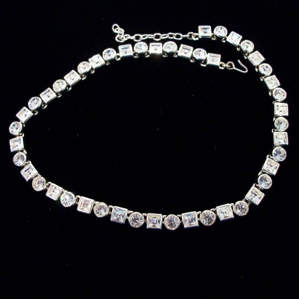 "Is Monet Jewelry Real >> Monet Bezel Set Multi Shaped Rhinestone Necklace-17.375"" : Not Just MUSI Bows 
