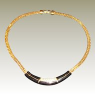 S.A.L. Swarovski Gold Plated Chain Necklace with Black Enamel Center – 16""