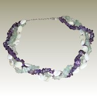 "Mother of Pearl/Amethyst/Peridot Torsade Necklace – 16.5"" + 3"""