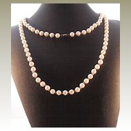 Glass Pearl Bead Long Necklace - 44""