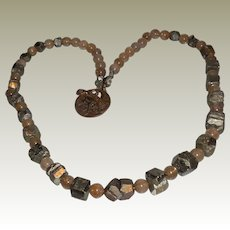 Handmade Natural Rock Crystal and Pyrite Necklace with Bronze Clasp - 28 inches