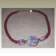 Iridescent Burgundy Necklace