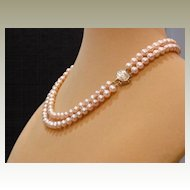 Pink Double Strand Fresh Water Pearl Necklace – 16.5""
