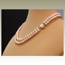"""Pink Double Strand Fresh Water Pearl Necklace – 16.5"""""""