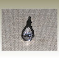 Sterling Silver Pendant w / Large Pear Shaped CZ