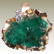 Modernist Vintage 18Kt Yellow Gold Emerald and Diamond Pendant