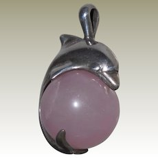 Vintage Pendant Sterling Porpoise on a Rose Quartz Ball