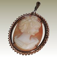 10K Yellow Gold Vintage  Shell Cameo Pendant