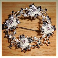 Mid Century Silver Colored Wreath Pin / Brooch