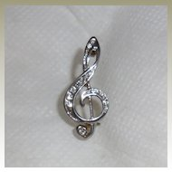 Vintage Small Silver Plated and Clear Rhinestone Treble Clef Pin Brooch