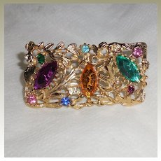 Metal Rectangular Pin with Multi Colored Synthetic Stones by MUSI