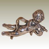 Sterling Silver Cherub Pin Brooch Pendant