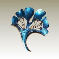 Weiss Blue Enamel Ginko Leaf Pin with Rhinestones