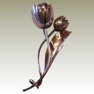 Vintage Damaso Gallegos Sterling Silver Tulip Pin Taxco Mexico DG