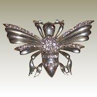 Sterling Silver Bug Pin/Brooch with Rhinestones