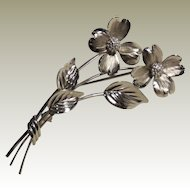 Bick Sterling Dogwood Flower Pin