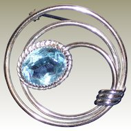 Danecraft Sterling Pin with Aqua Glass Stone