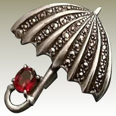 Vintage Sterling and Marcasite Rubellite Umbrella Pin Brooch