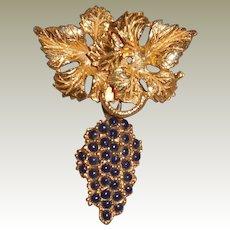 Vintage Hattie Carnegie Grape Pin